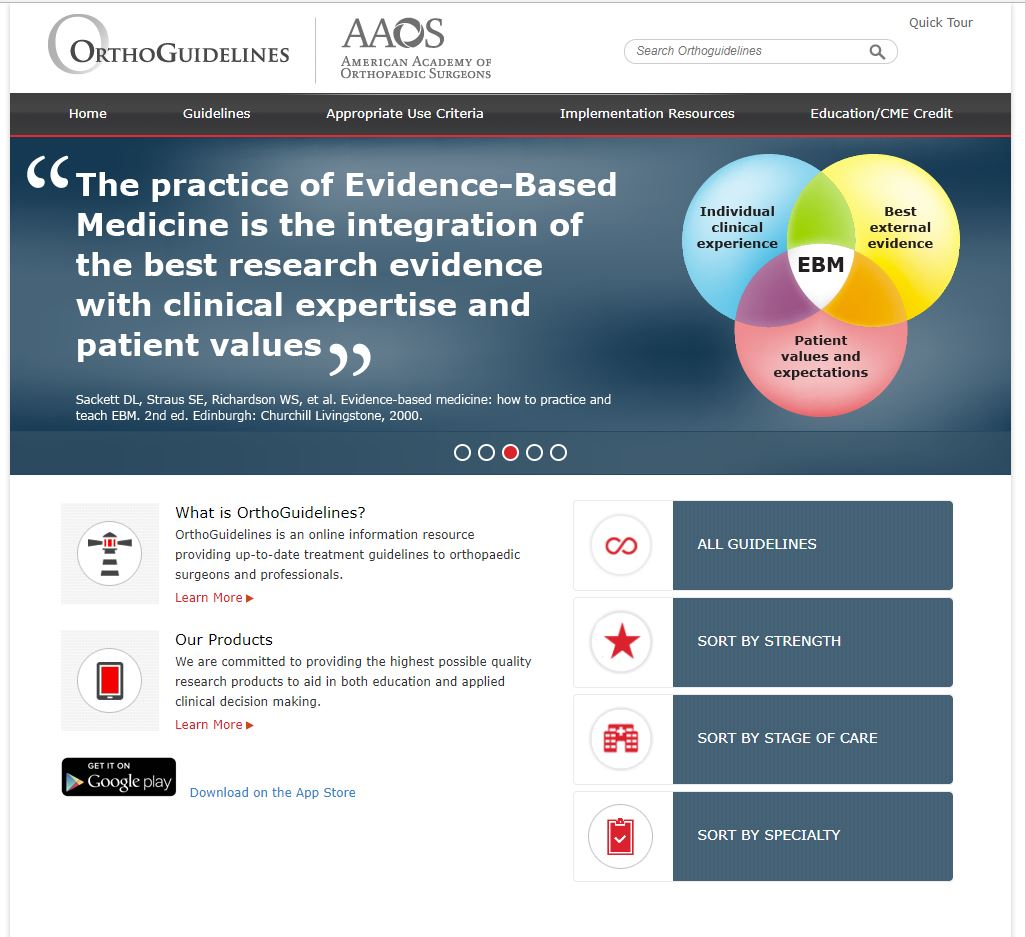 AAOS clinical practice guidelines website