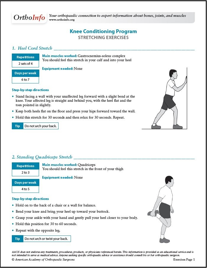Knee Conditioning Program Orthoinfo Aaos
