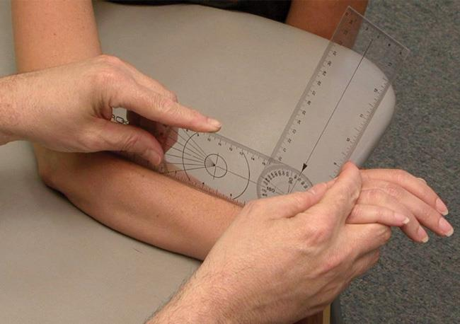 Physical examination of arthritic wrist