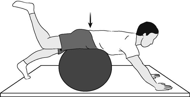 Lumbar stabilization exercise with Swiss ball, lying on ball