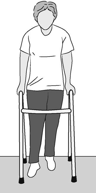 Illustration of woman using a walker after hip replacement