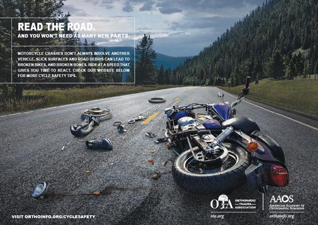 AAOS print public service advertisement on motorcycle safety
