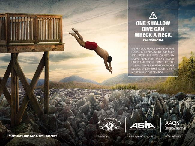 AAOS print public service advertisement on diving safety